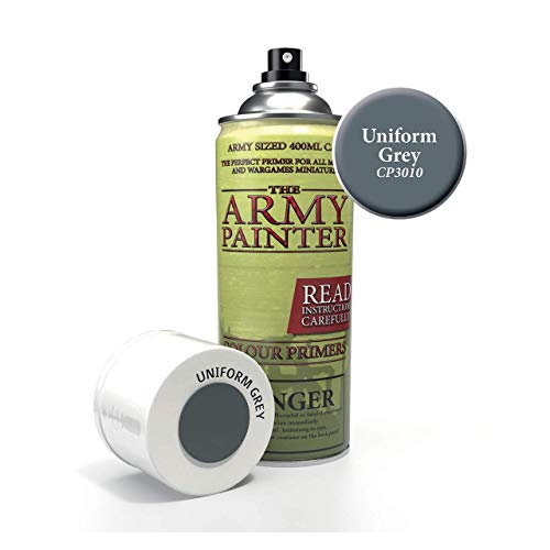 The Army Painter Color Primer, Uniform Grey, 400 ml, 13.5 oz - Acrylic Spray Undercoat for Miniature Painting ()