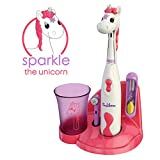 Brusheez Children's Electric Toothbrush Set - New & Improved with Softer Bristles, Easy-Press Power Button, 2 Brush Heads, Cute Animal Cover, Sand Timer, Rinse Cup & Storage Base - Sparkle the Unicorn