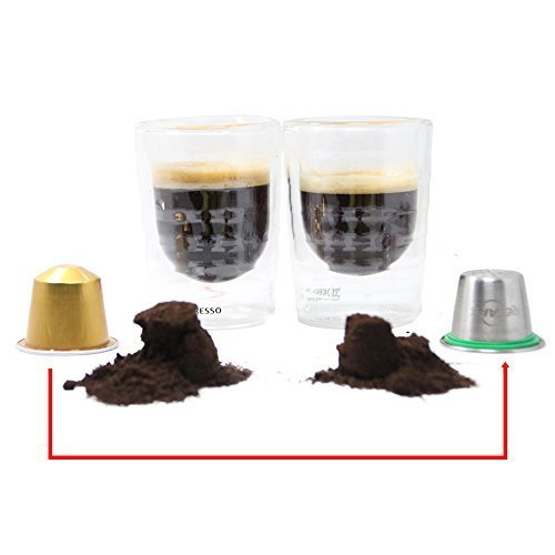 1 Pod +120 Seals +1 Tamper RECAPS Reusable Capsules Stainless Steel Refillable Pods Compatible with Nespresso Machines