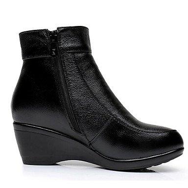 Pelusas Botas Planas Mujer RTRY Zapatos Botas Invierno Nappa De 7 Negro Pu Moda Ue37 Botines Casual Tobillo 5 5 De Uk4 Tacón Negro Cn37 Forro Botas Us6 Cuero CN36 UK4 EU36 5 For De US6 OO0Pqx
