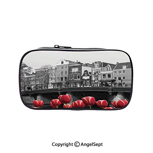 Bag Pen Case Felt Students Stationery Pouch Zipper Bag,Monochrome Photo of Amsterdam Canal with Red Tulips Houses Decorative Black White Red 5.1inches,for Pens,Pencils,and Other School -