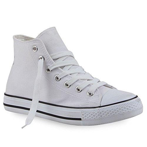 Damen Sneakers Muster Camouflage Damenschuhe Glitzer Turnschuhe Sneaker High Schuhe Flandell Weiß