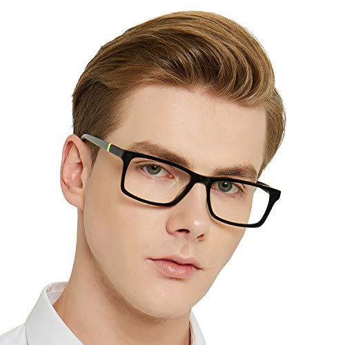 Fashion Designer Style Rectangular Glasses Frame Clear Lens Eyeglasses (Gray) For Women Men Metal Spring Hinge - Rx Nerd Reading Men Glasses