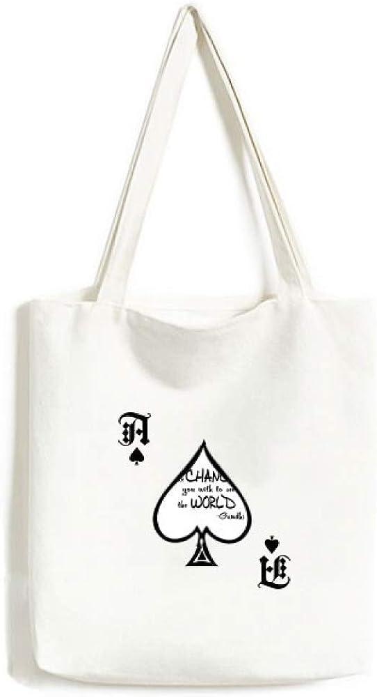 Be Change See World Quote Handbag Craft Poker Spade Canvas Bag Shopping Tote