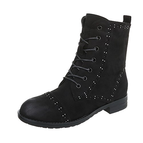 Women's Boots Block Heel Lace-Up Ankle Boots at Ital-Design Black
