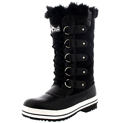 Womens Snow Boot Quilted Tall Winter Snow Waterproof Warm Rain Boot - 8 - BLS39 YC0003
