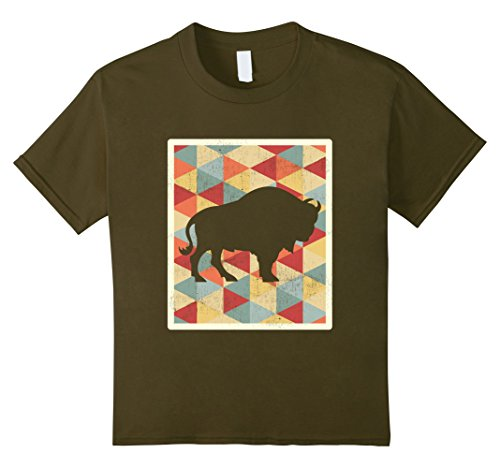 Kids Classic Vintage Buffalo 70s Style Retro Bison T-Shirt 8 (Silhouette Olive)