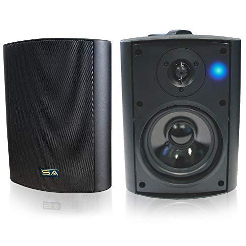 Bluetooth 5.25 Indoor/Outdoor Weatherproof Patio Speakers (Black- pair) (Best 5.25 Speakers For The Money)