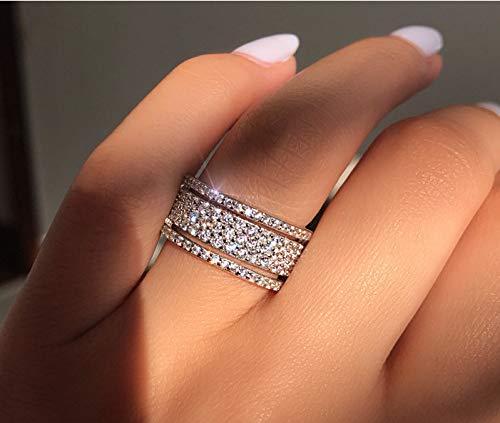 PAKULA 925 Sterling Silver Women Round Cubic Zirconia Cross Band CZ Wedding Ring