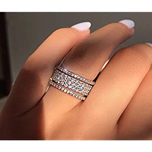 Cutedoumiao 925 Sterling Silver Rings Cubic Zirconia Eternity Engagement Wedding Bands Wedding Rings for Women…