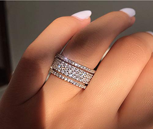 Cutedoumiao 925 Sterling Silver Rings Cubic Zirconia Eternity Engagement Wedding Bands Wedding Rings for Women Anniversary Eternity Bands 3 Band Width Rings CZ Engagement Bridal (7)