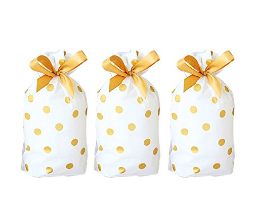 Funcoo 30 PCs Party Favor Bags, Plastic Drawstring Gift Treat Bag Pouch, Candy Goodies Bag for Wedding Party Bridal Baby Shower Birthday Engagement Christmas Holiday Favor