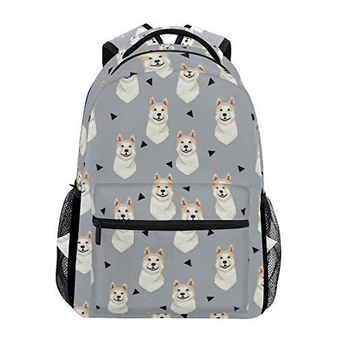 - Stylish Akita Dog Gray Backpack- Lightweight School College Travel Bags, ChunBB 16