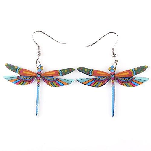 BONSNY Sweet Dangle DRAGONFLY Earrings Acrylic Long Drop For Girls Women Jewelry