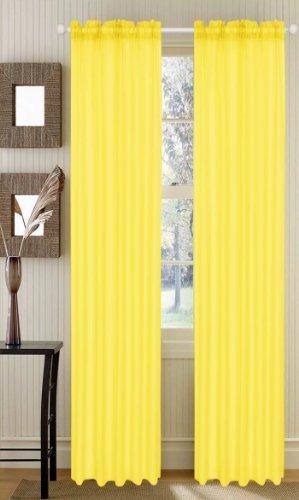 Asbury Elegant Voile Sheer Panel – 54″x84″ (Bright Yellow)