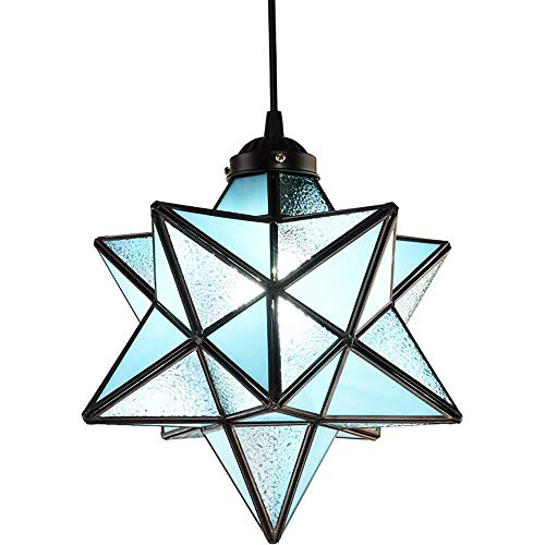 - KIRIN Tiffany Crystal Star Lampshade Pendant Light Retro Style Lamp Chandelier Ceiling Hanging Drop Fixture for Cafe Loft Bar Living Study Room Corridor Aisle Light Blue 7.87