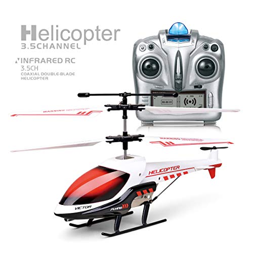 RC Helicopter with Gyro and LED Light, 3.5 Channel Mini Helicopter,Remote Control for Kids & Adult Indoor Outdoor RC Helicopter Best Helicopter Toy Gift,Gray