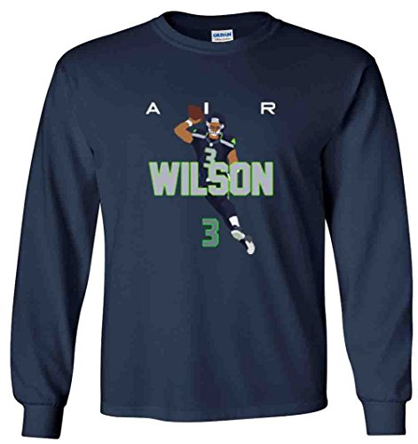 (Shedd Shirts Long Sleeve Navy Seattle Wilson AIR PIC T-Shirt Adult)