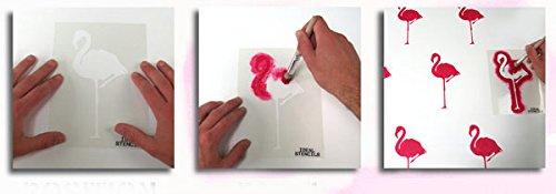 Tropisch Flamingo außenschablone. Farbe Farbe Farbe Wände Stoffe & Möbel Flamingo Muster Heim Dekoration Kunst bastelarbeiten. ideal Stencils LTD - halb geschliffen Durchsichtig Schablone, Multipack S M L B074H5V44V   Kompletter Spezifikationsbereich 2b2484