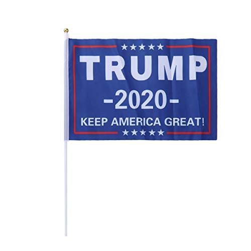 89f7d53729fda Amosfun 2Pcs Keep America Great Trump 2020 Flag Environmental Protection  Bunting Trump Flag Portable Trump 2020 Banner Garlands 14x21cm