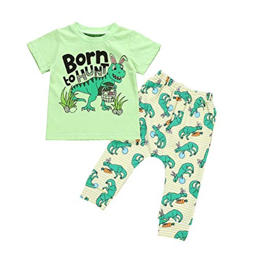 JELLYKIDS Baby Dinasour Costume Unisex Toddler Boy Girl Short Sleeve Cartoon Top and Leggings 2Pcs Outfit Set Size 12-18 Months/Tag90 (Green)