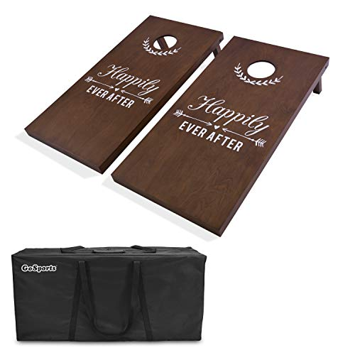 GoSports Wedding Corn Hole Set | Regulation Size with Solid Stained Wood - Stained Wood Solid