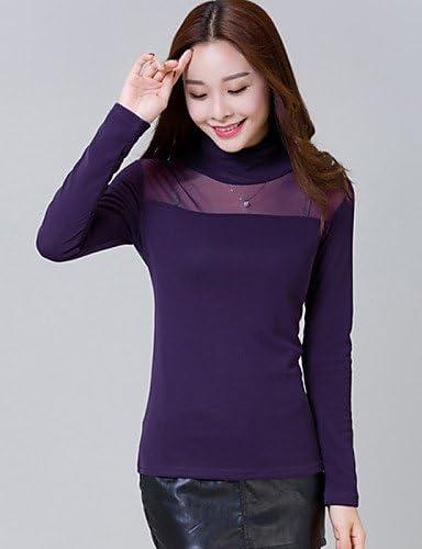 jjh – Camiseta de mujer – Rejilla algodón/poliéster manga larga cuello alto purple-l Talla:purple-l: Amazon.es: Deportes y aire libre