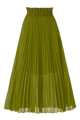Skirt Avocado - Musever Women's Pleated A-Line High Waist Swing Flare Midi Skirt Avocado Green Large/X-Large
