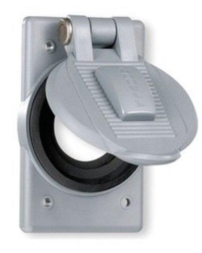 """Hubbell Wiring Systems HBL20405 Hubbellock Cast Aluminum FS/FD Mount Wall Plate with WDL""""Closed"""" Receptacle Weatherproof Lift Cover, 1 Gang, 2.05"""" Opening, 30 Amp, 4 Watt, Aluminum"""