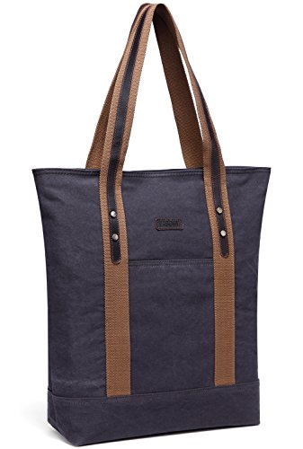 Canvas Tote Bag,Vaschy Large Vintage Shopper Travel Tote Wok Bag for Women with Leather Trim Strap (2 Pocket Shopper)