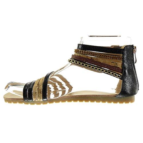 Angkorly - damen Schuhe Sandalen - Sexy - Multi-Zaum - Kette - glänzende flache Ferse 1.5 CM - Schwarz