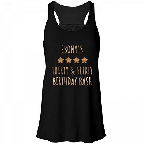 Ebony's Thirty & Flirty Birthday: Bella Women's Flowy Metallic Racerback - Ebony Tequila