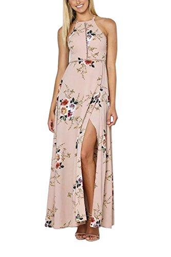 Assivia Women's Sexy Halter Neck Split Floral Print Beach Party Maxi Dress