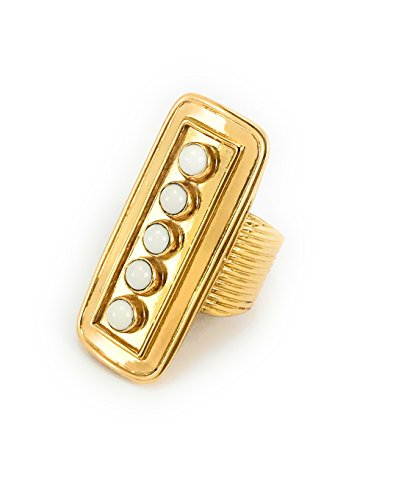 yuwei 24k Gold Plated Single Bar Ring with Natural Semi-Precious ()
