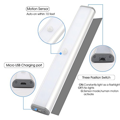 Magnetic Battery Light, LED Closet Lights Rechargeable Battery Operated, Motion Sensor Wireless Under Cabinet Lighting, 20 LEDs Super Bright Night Light, Build-in Magnetic Light Bar Stick-on Anyw by Cefrank (Image #2)