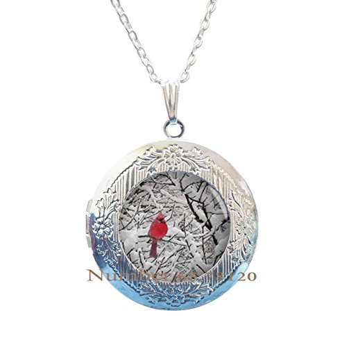 (Yijianxhzao Cardinal Jewelry Cardinal Locket Necklace Cardinal Red Bird Locket Necklace,Cardinal Jewelry Cardinal Pendant,BV184 (V1))