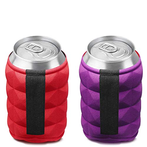 SUPER SOFT Beer Can Cooler Sleeves for Ice Cold Drink, Reversible Double Sided Embossed Design - 2 Pack Collapsible Insulated Soda Bottle Holder Premium Quality Many Color Party Huggies by Metric USA by Metric USA