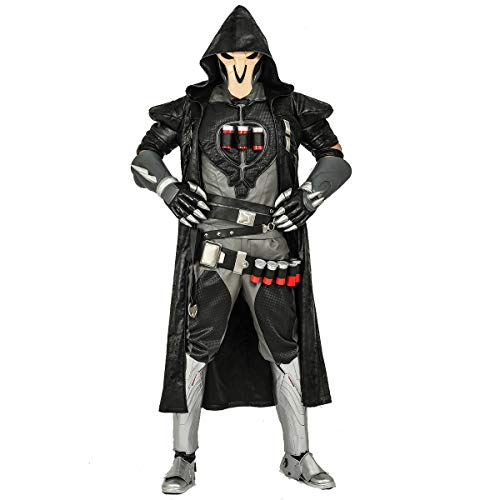 OW Reaper Cosplay Costume Gabriel Reyes PU Leather Halloween Game Anime Outfits Full Set ()
