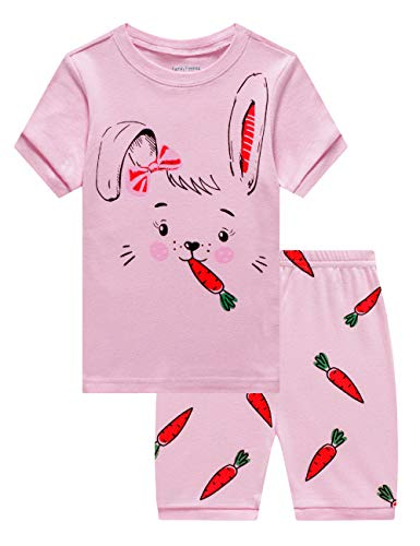 Little Boys Girls Rabbit Easter Short Pajamas 100% Cotton Pink Summer Pjs Clothes Toddler Kid 4T
