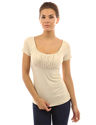 PattyBoutik Women Scoop Neck Empire Waist Raglan Top (Beige Small) ()
