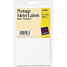 - Permanent Adhesive Postage Meter Labels, 1-1/2 x 2-3/4, White, 160/Pack