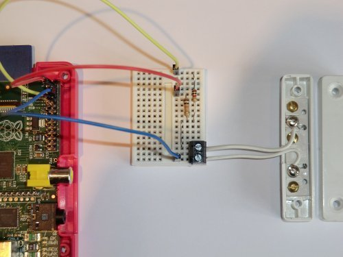 (Door/Window Alarm GPIO Project Kit for Raspberry Pi. Includes breadboard, magnetic reed switch door sensor, three metres of bell wire, resistors & connection wires to Pi. Also includes easy-to-follow PDF manual & example scripts. Capture photos & HD video from your Raspberry Pi camera module. Photo is sent to your iPhone or Android phone when the door is opened. Compatible with Raspberry Pi A, B, A+, B+, Pi 2 and Pi 3 models.)