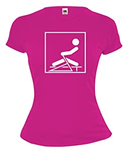 Girlie T-Shirt Ruderergometer-Piktogramm-M-Fuchsia-White