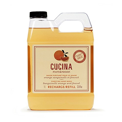 Fruits and Passion Cucina Purifying Hand Wash and Refill, Orange Sanguinelli & Fennel, Sanguinelli Orange Fennel 33.8oz