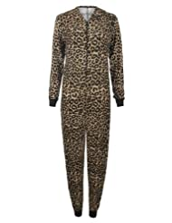 Womens Leopard Alphabet And Army Print Viscose Jersey Onesie Hooded Jumpsuit