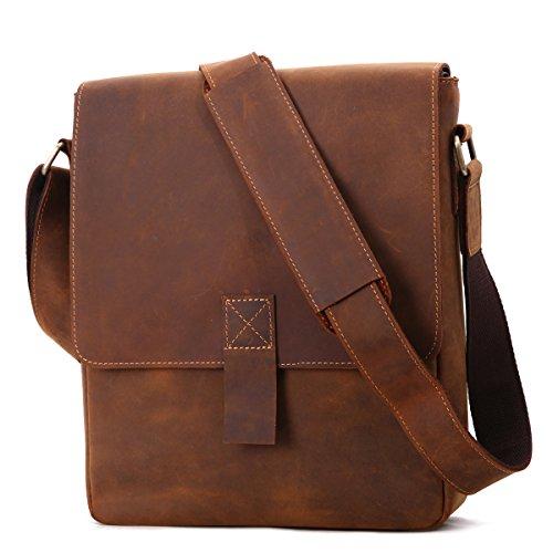 Leathario bolso bandolera con La primera capa de cuero de caballo loco para viaje o trabajo. Marrón de amarrillo