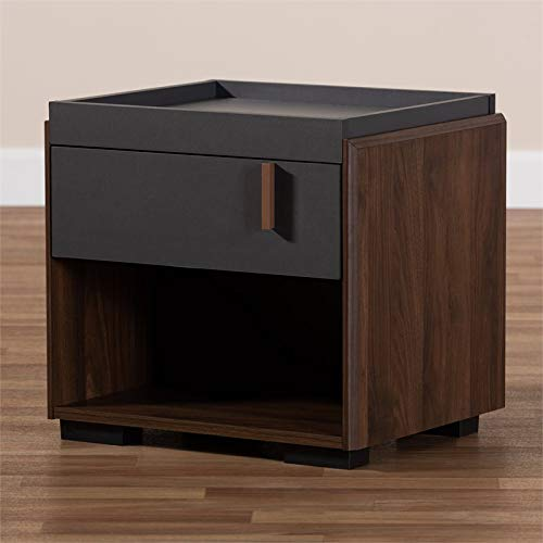 Baxton Studio Rikke Two-Tone 1-Drawer Wood Nightstand in Gray and Walnut