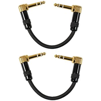 audio2000 39 s c25000p2 6 inch 1 4 trs right angle to right angle patch cable 2 pack. Black Bedroom Furniture Sets. Home Design Ideas