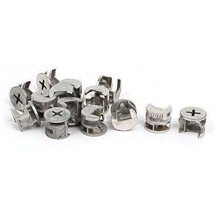 eDealMax 15mmx12mm excéntrico Ruedas Muebles Conexión Cam guarniciones 15pcs tono de plata - - Amazon.com