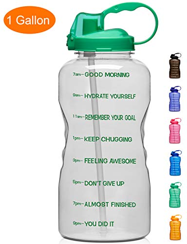 Giotto Large 1 Gallon/128oz Motivational Water Bottle with Time Marker & Straw, Leakproof Tritan BPA Free, Ensure You Drink Enough Water Daily for Fitness, Gym and Outdoor Sports-Clear Green